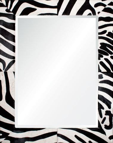 Mirrors - Mason Zebra Hide Mirror -Black & White