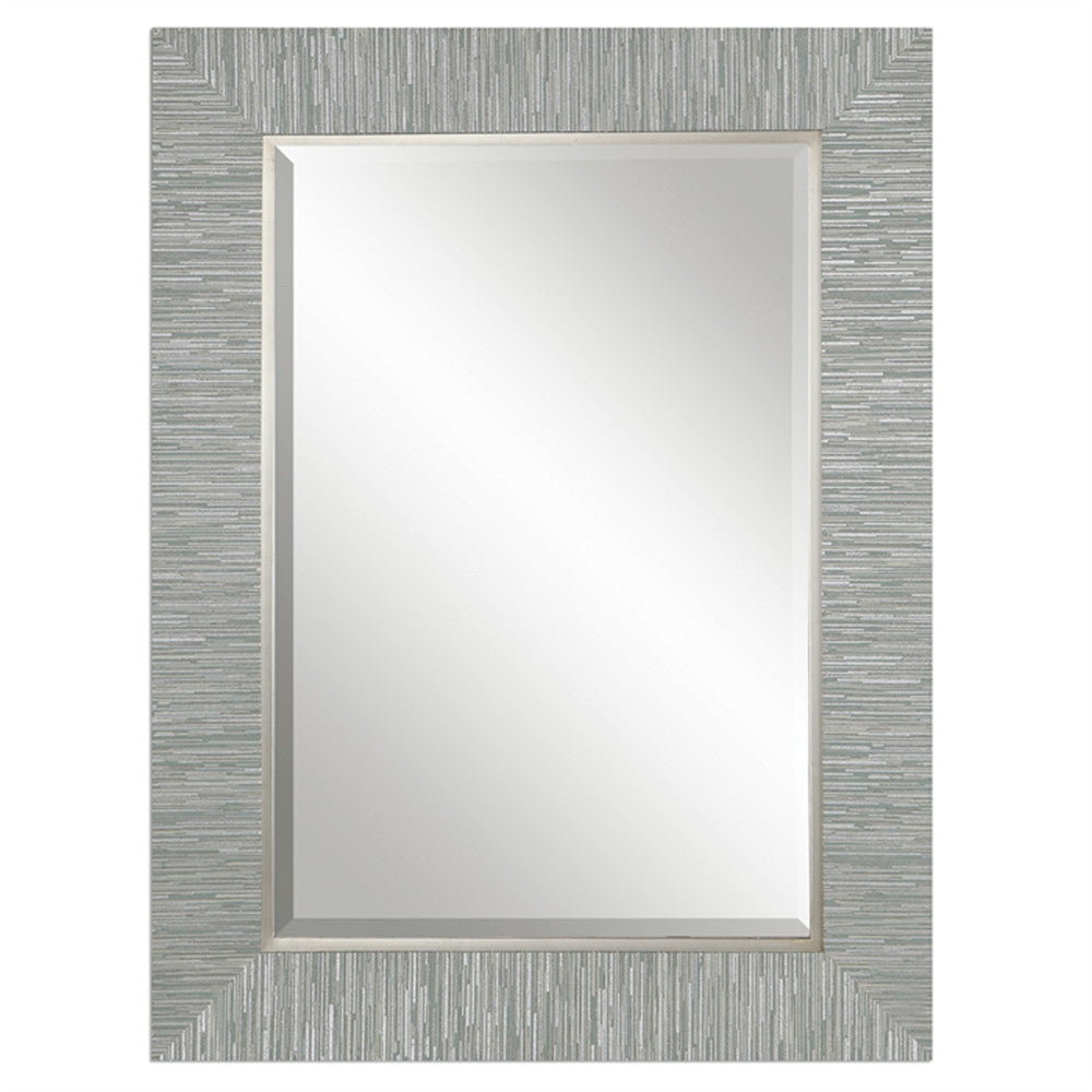 Mirrors - Oversized Striped Textured Finished Mirror — Silver & Blue-Gray