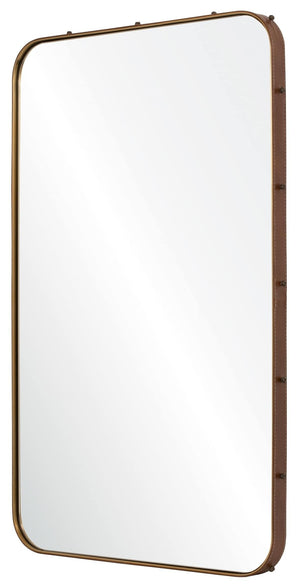 Leather Wrapped Mirror with Side Rosettes - Available in 2 Colors & Sizes