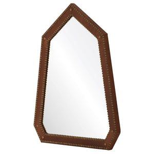 Pediment Leather Wrapped Mirror with Nailhead Detail - Available in 2 Finishes