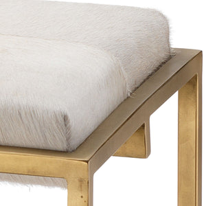 Shelby Bench in White Hide & Antique Brass Metal