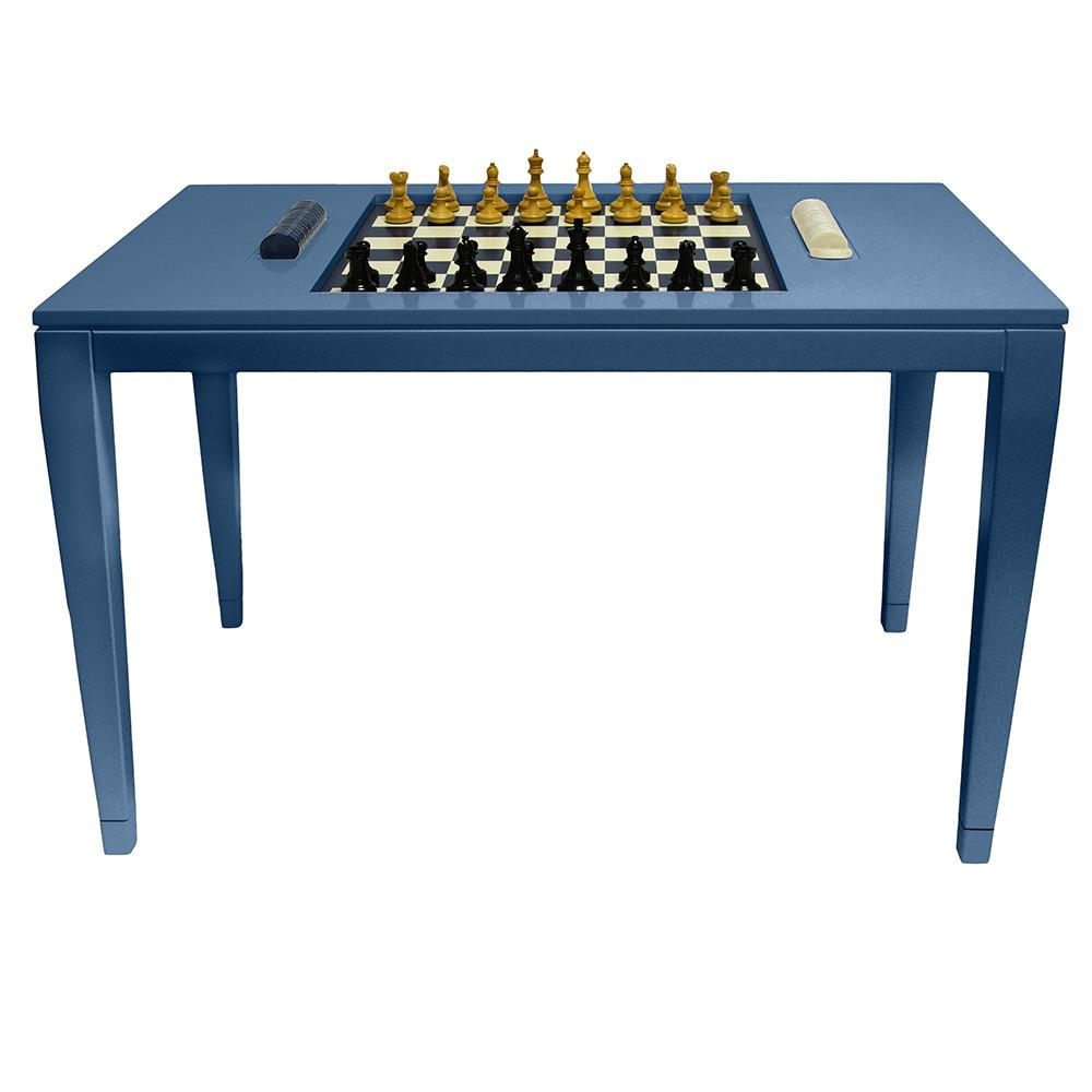 Lacquer Chess & Checkers Table - Blue (Additional Colors Available)