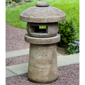 Japanese Lantern Sculpture - Brown Stone Patina
