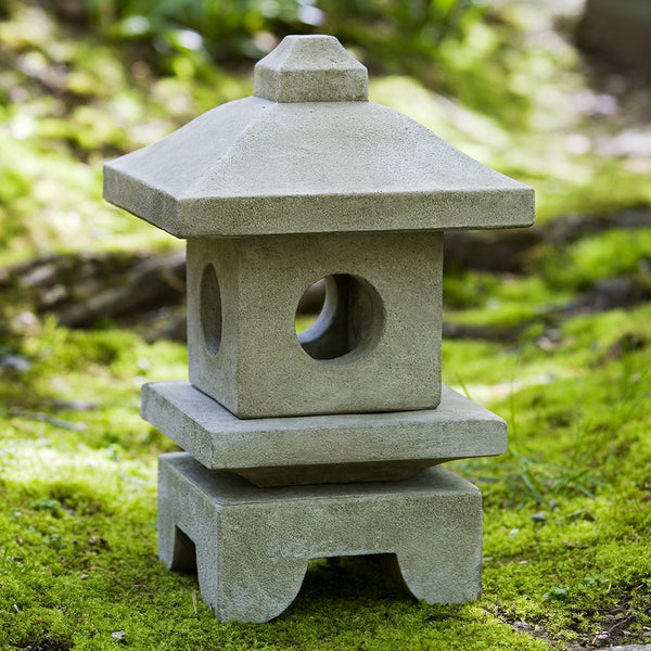 Small Square Japanese Lantern Sculpture - Verde Patina