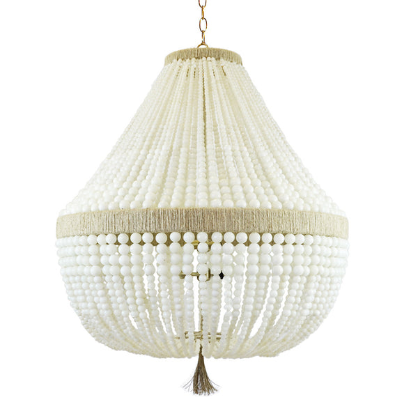 Orbit Large Beaded Chandelier – Milk Beads