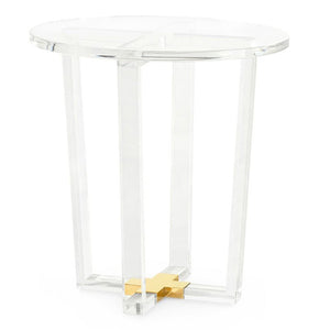 Bungalow 5 Oval Acrylic Side Table with Brass Accent