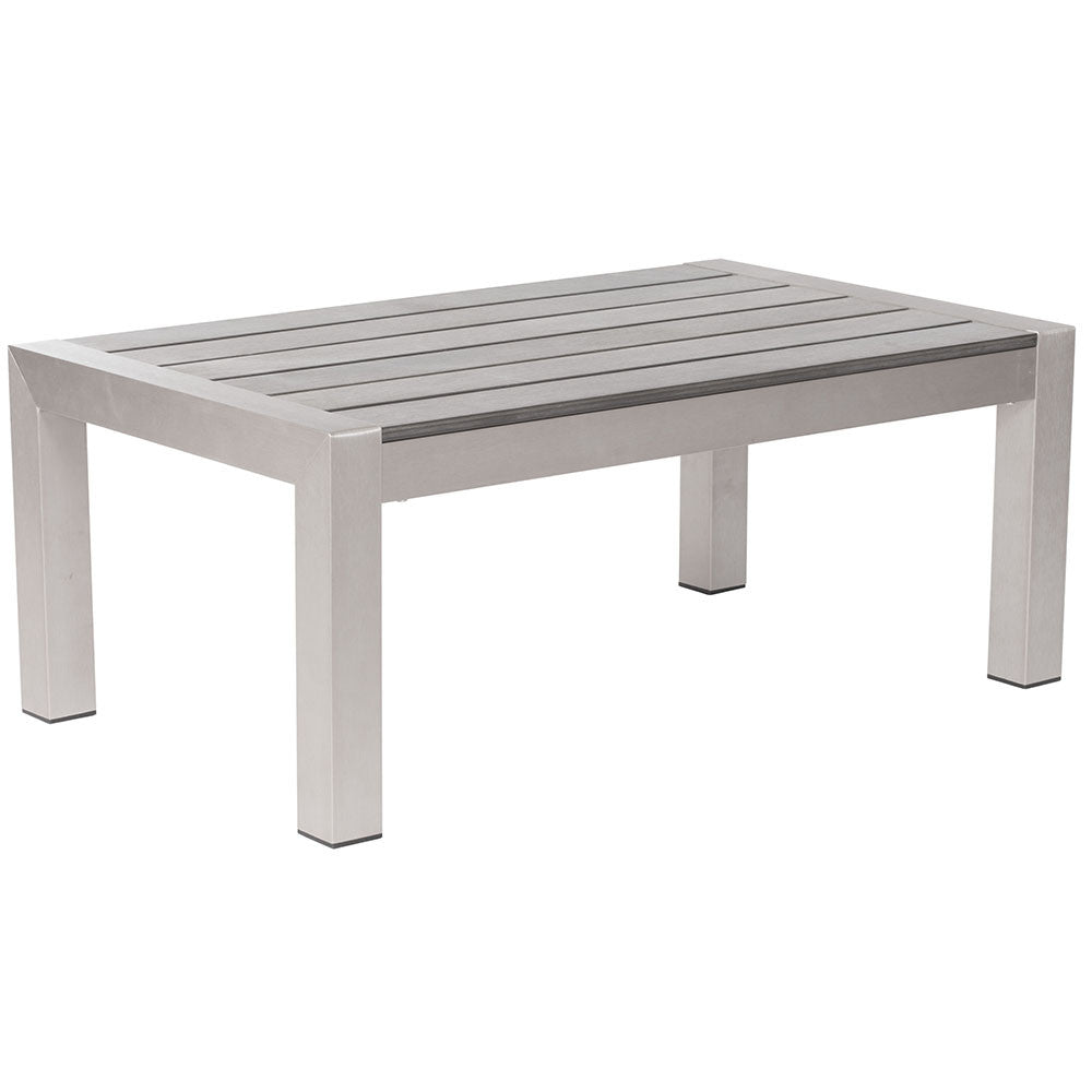 Outdoor Furniture - Brushed Aluminum Outdoor Coffee Table — Silver - Brushed Aluminum Outdoor Coffee Table — Silver Scenario Home