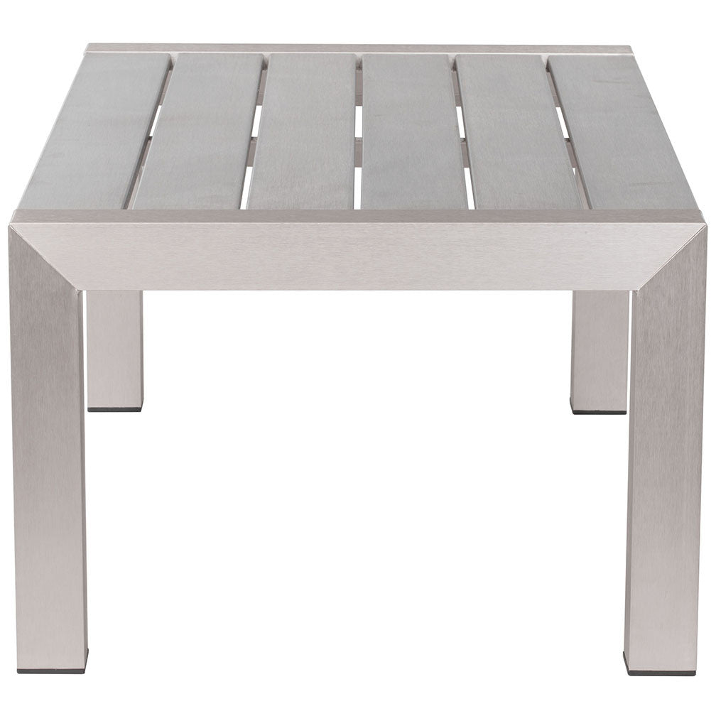 Square Outdoor Coffee Table Part - 43: Outdoor Furniture - Brushed Aluminum Outdoor Coffee Table U2014 Silver