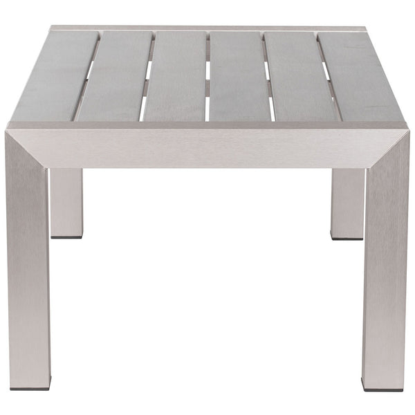 Outdoor Furniture - Brushed Aluminum Outdoor Coffee Table — Silver