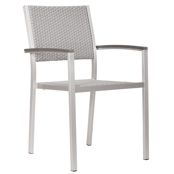 Outdoor Furniture - Modern Aluminum Outdoor Woven Arm Chairs — Grey