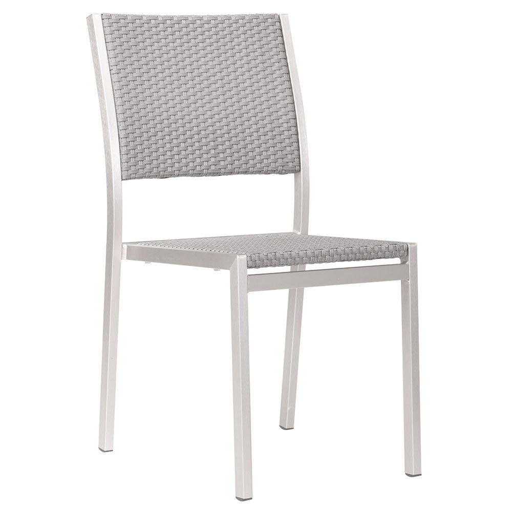 Modern Aluminum Outdoor Woven Armless Chairs Grey