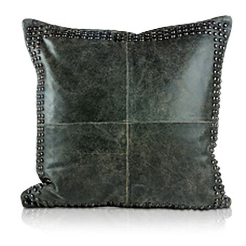 Pillows - Beaded Leather Square Pillow – Worn Black