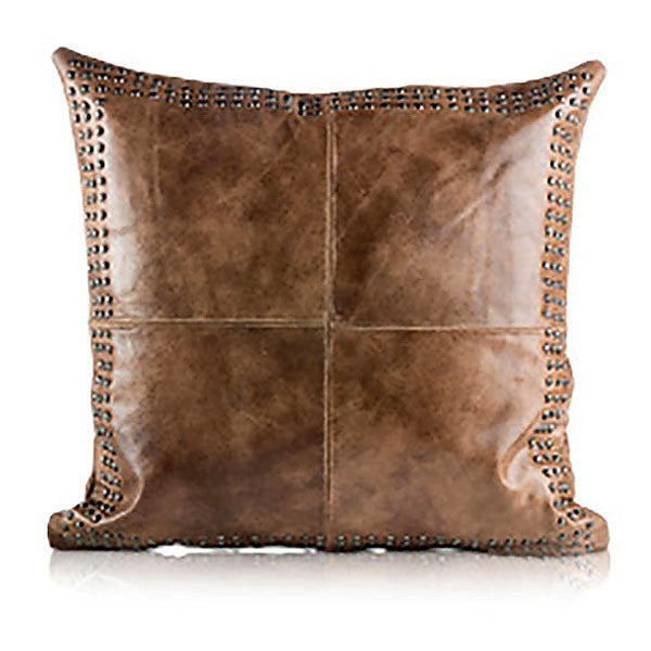 Pillows - Beaded Leather Square Pillow – Worn Brown