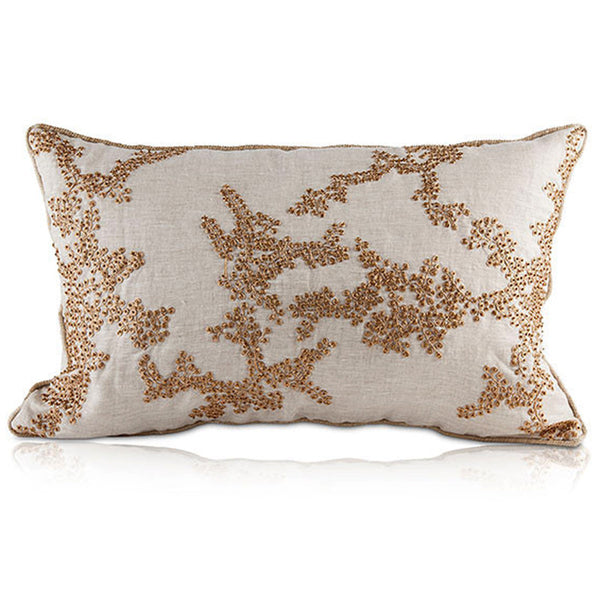 Pillows - Beaded Linen Rectangular Pillow