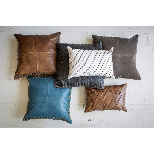 Pillows - Beaded Suede Square Pillow – Birchwood Brown