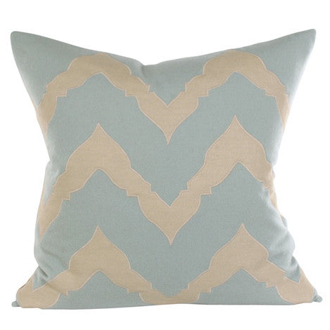 Pillows - Bella Luxe Chevron Pillow - Blue & Beige