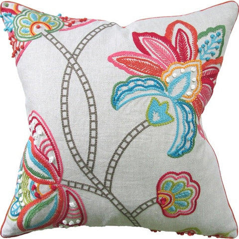 Pillows - Embroidered Floral Pillow With Beading - Multi Color