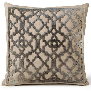 Pillows - Hide Cut Out Lattice Pillow – Natural & Grey