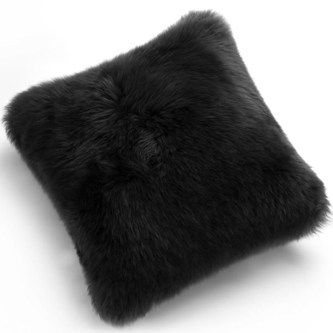 Pillows - Luxe Black Premium Sheepskin Pillow - In 4 Sizes