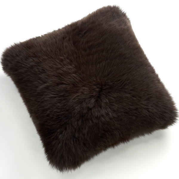 Pillows - Luxe Chocolate Brown Premium Sheepskin Pillow - In 4 Sizes