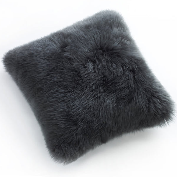 Pillows - Luxe Steel Grey Premium Sheepskin Pillow - In 4 Sizes
