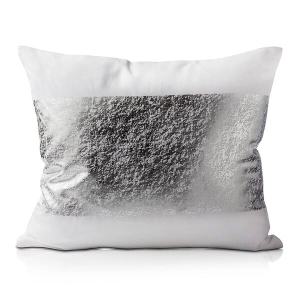 Pillows - Shiny Metallic Foil Print Cotton Pillow – Silver