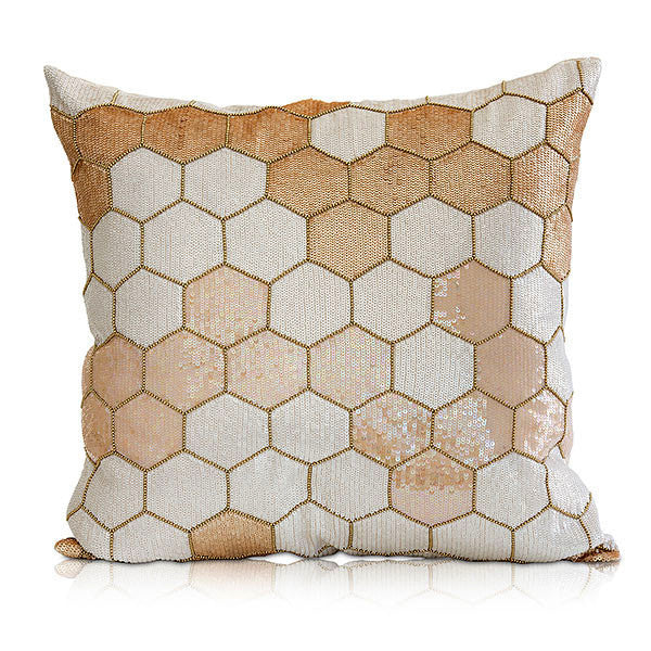 Pillows - Sparkling Honeycomb Pattern Linen Pillow – Champagne Blush
