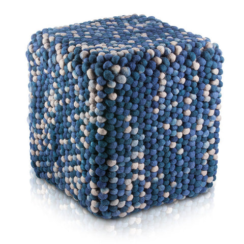 Pillows - Textured Wool Cubical Pouf – Blue Hues