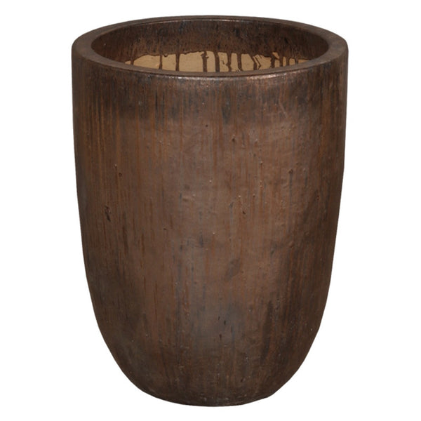 Planters & Fountains - Cylinder Ceramic Planter - Brown Metallic