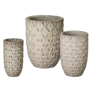 Planters & Fountains - Pinecone Ceramic Planters - Antique White (set Of 3)