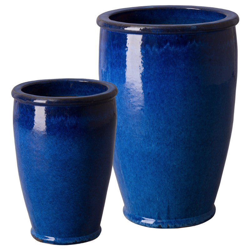 Planters & Fountains - Round Ceramic Planters - Blue (set Of 2)