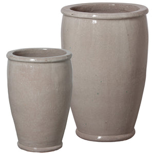 Planters & Fountains - Round Ceramic Planters - Grey (set Of 2)