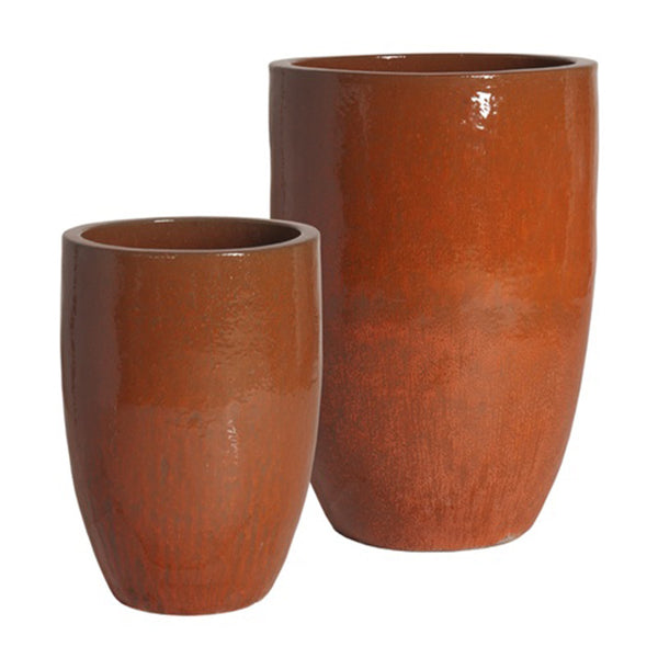 Planters & Fountains - Tall Round Ceramic Planter - Paprika Red (set Of 2)