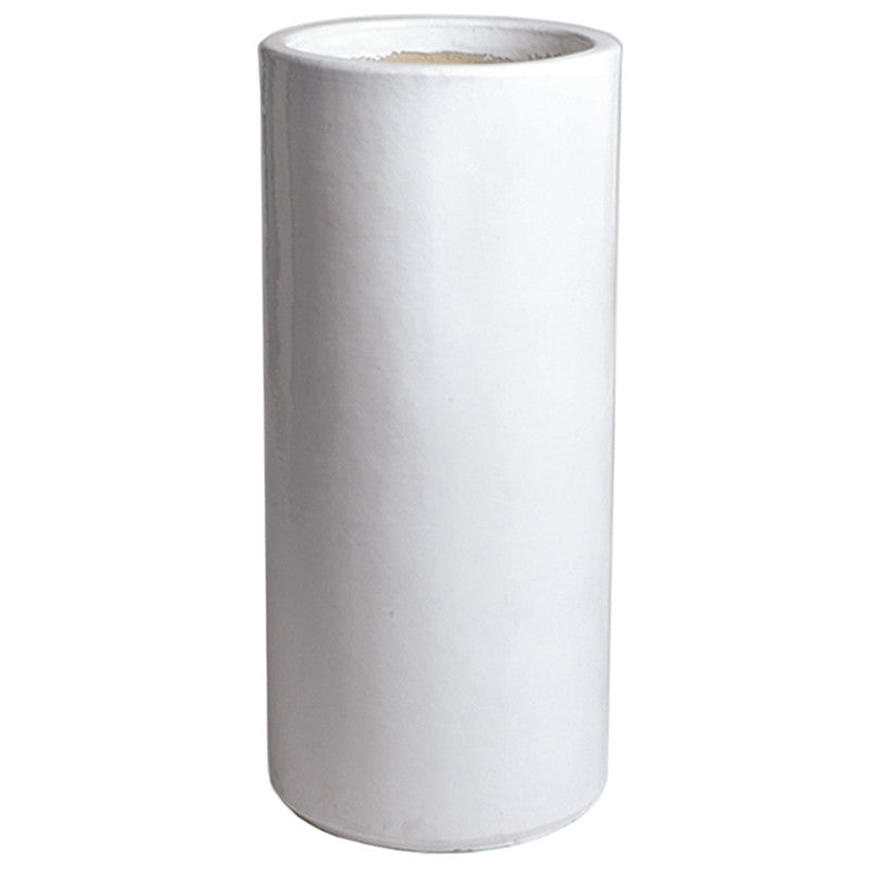 Tall Round Ceramic Planter White