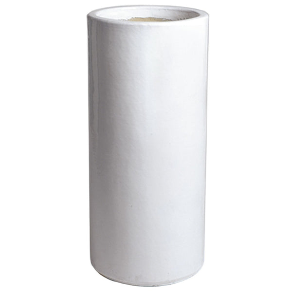 Planters & Fountains - Tall Round Ceramic Planter - White