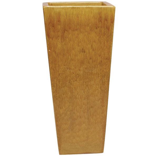 Planters & Fountains - Tall Square Ceramic Planter - Honey Yellow