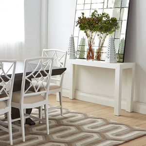 Bungalow 5 Lacquered Grasscloth Parsons Console Table – White