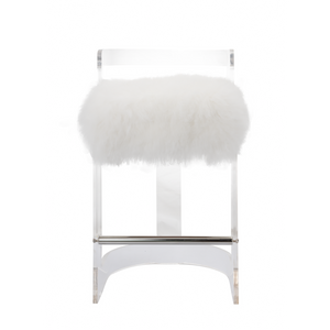 Worlds Away Clear Barrel Back Counter Stool with Nickel Accents – White Fur