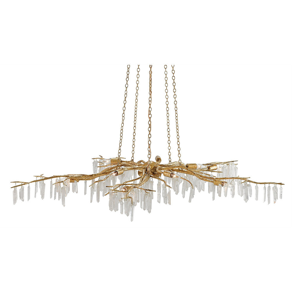 Branch Chandelier Currey And Company Quartz Branch Chandelier Distressed Gold