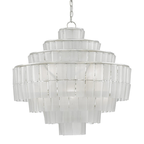 Recycled Glass Tiered Chandelier – Silver Leaf