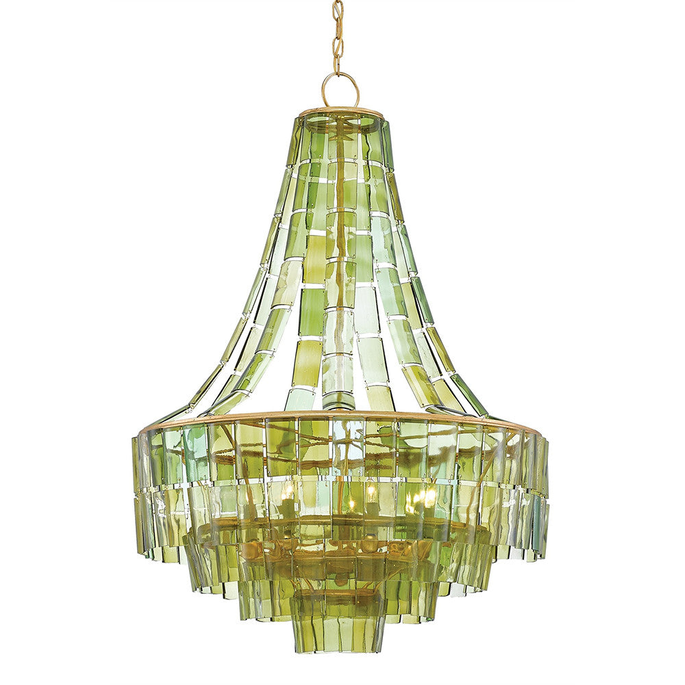 Currey and Company Recycled Wine Bottle Layered Chandelier