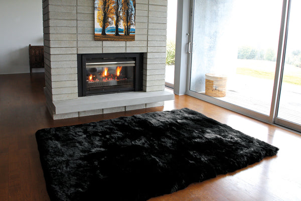 Rugs - Black Straight-Edge Premium Sheepskin Rug - In 4 Sizes