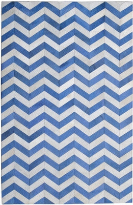 Rugs - Chevron Hide Rug - Bright Blue & Cream