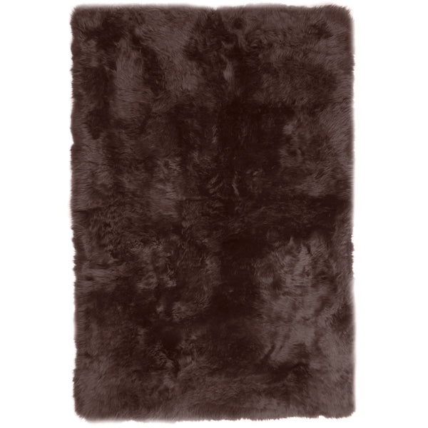 Rugs - Chocolate Brown Straight-Edge Premium Sheepskin Rug - In 4 Sizes