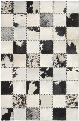 Rugs - Cross-Stitched Squares Hide Rug - Black & Cream