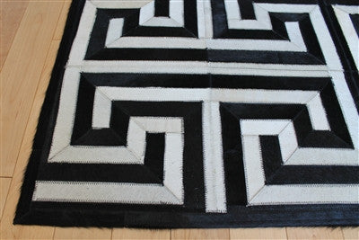 Greek Key Geometric Hide Rug Black Amp Cream