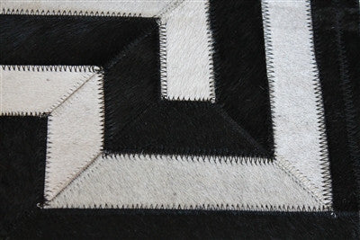 Greek Key Geometric Hide Rug Black Amp Cream Scenario Home