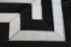 Rugs - Greek Key Geometric Hide Rug - Black & Cream