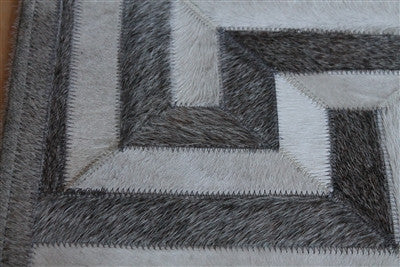 Greek Key Geometric Hide Rug Grey Amp Cream Scenario Home