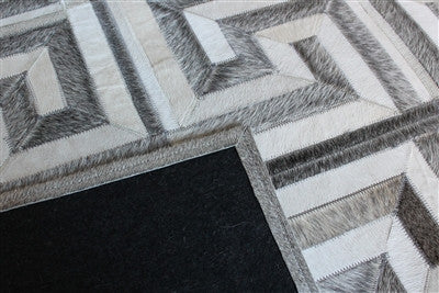 Rugs - Greek Key Geometric Hide Rug - Grey & Cream